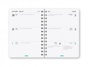 Spirálozott naptár, heti  gumis B6, CORNELL FLOWER BLUE 2020