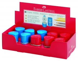 Hegyező 3 lyukú FABER-CASTELL színes/szürke (grip)