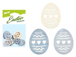 Dekorációs tojás, fa színes 12 db/csomag 4 cm mix