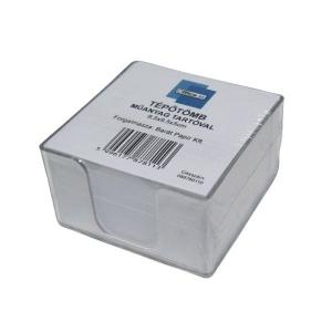 Tépőtömb OFFICE 21 (9,5x9,5x5) műanyag tartóval fehér lap