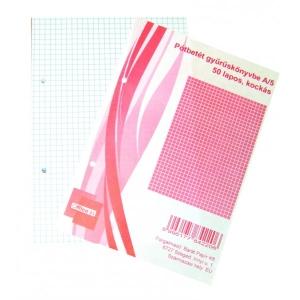Pótbetét gyűrűskönyvbe OFFICE 21 A/5 50lap kockás