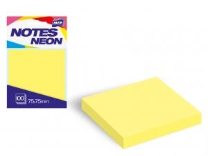 Öntapadó jegyzettömb, 75x75 mm, 100 lap, neon sárga