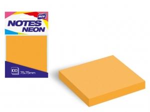 Öntapadó jegyzettömb, 75x75 mm, 100 lap, neon narancssárga