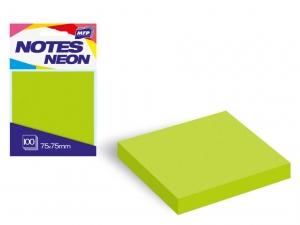 Öntapadó jegyzettömb, 75x75 mm, 100 lap, neon zöld