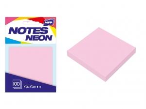 Öntapadó jegyzettömb, 75x75 mm, 100 lap, neon rózsaszín