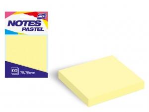 Öntapadó jegyzettömb, 75x75 mm, 100 lap, pasztell sárga