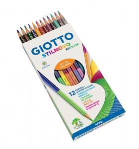 Színes ceruza készlet/12 GIOTTO kétvégű Stilnovo Bicolor 256900