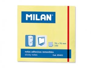 Öntapadó jegyzettömb MILAN 75x75 mm, 100 lapos, sárga