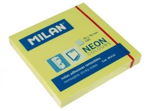 Öntapadó jegyzettömb MILAN 75x75 mm, 80 lapos, neon sárga