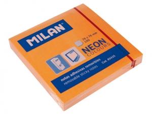 Öntapadó jegyzettömb MILAN 75x75 mm, 80 lapos, neon narancs
