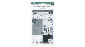 Matrica rizspapír-washi fekete-fehér virágos, 2ív/bliszter