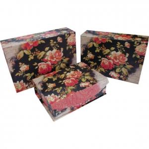 Nifty Gift papír díszdoboz mágneses, Fekete virág, 30x21x9cm