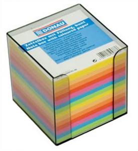 Tépőtömb kocka műanyag tartóval DONAU (90x90x90mm) színes lapokkal