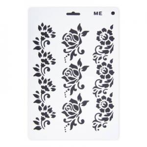 Stencil műanyag fehér A/4 virágsor