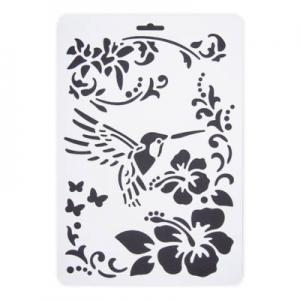 Stencil műanyag fehér A/4 virág kolibri