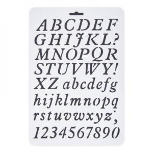 Stencil műanyag fehér A/4  ABC számok