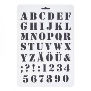 Stencil műanyag fehér A/4 ABC számok általános