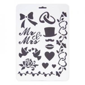 Stencil műanyag fehér A/4 esküvői