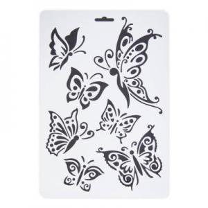 Stencil műanyag fehér A/4 pillangók