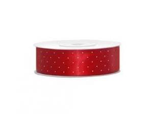 Pöttyös szatén szalag piros színű  1,5cm x 23m