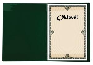 Oklevéltartó, plüss, A4, VICTORIA, zöld