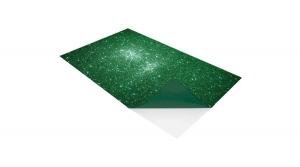Öntapadó dekorgumi lap, csillámos, 2 mm, A/4, zöld