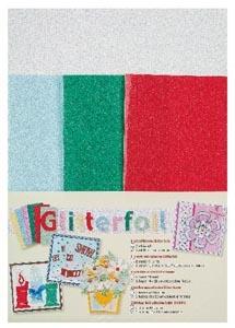 Glitteres fólia - karácsony, 5 db, fehér, kék, zöld és piros, öntapadós