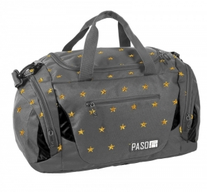 Paso sporttáska, utazótáska, 47x25x25cm, szürke színű, sárga csillagokkal