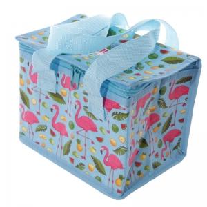 Flamingós uzsonnás táska, hűtőtáska, 21x16x14cm