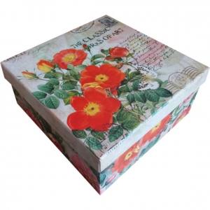 Papír doboz négyzet alakú 1 virág mintás 20x20x9 cm