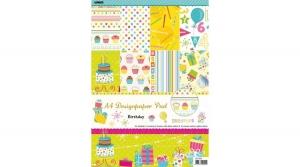 Születésnapi kartonblokk, A/4, 160 g, 24 lapos