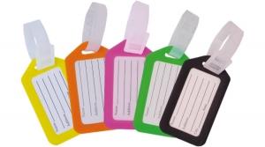 Műanyag bőrönd címke, vonalas, vegyes színekben